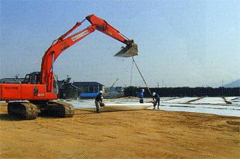 軟弱地盤盛土補強工法-施工例2