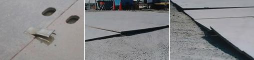鋼板溶接部の破断状況 / 端部の反り / 鉄板のガタツキ