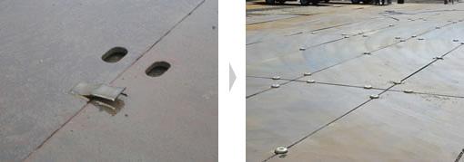 従来の鋼板の溶接による連結 → リンクプレートによる連結